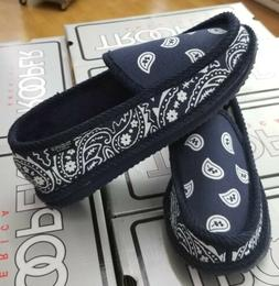 BANDANA HOUSE SHOES PAISLEY MEN'S NAVY / WHITE  NVWH