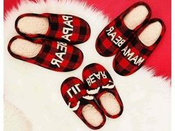 dearfoam papa bear red black plaids scuff
