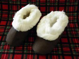 From Peru Brown Suede White Alpaca Fur Slippers Size Narrow
