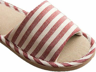 Paangkei House Slippers Mens Cotton Flax Shoes