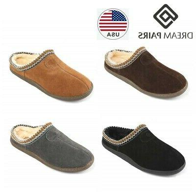 men s winter warm home slippers leather