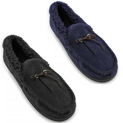 mens classic faux suede moccasin slippers comfy
