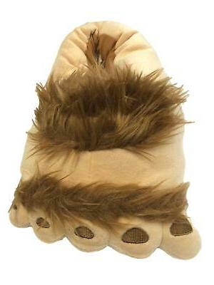 mens fuzzy brown big foot slippers monster