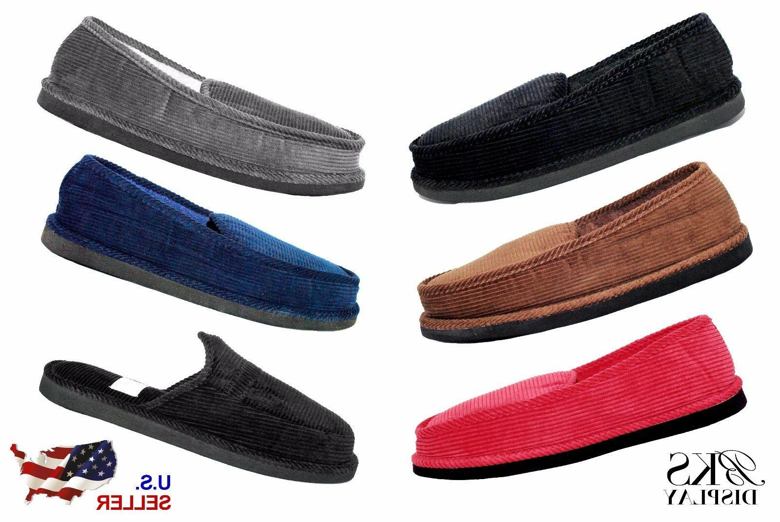 mens house shoes slippers moccasin slip on