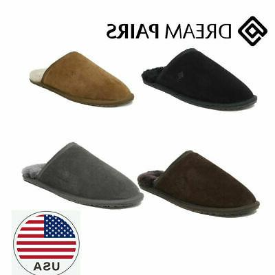mens sheepskin fur lining scuff slippers comfort