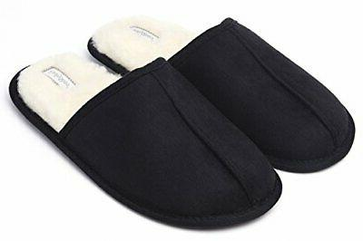 mens slippers scuff fluff house shoes slip