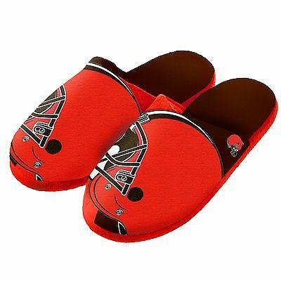 pair cleveland browns big logo slippers new