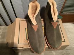 LL Bean Mens Suede Shearling House Shoe Brown Size 12M