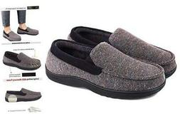 LongBay Men's Comfy Moccasin Slippers Loafer House Shoes 12