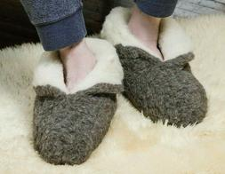 MEN'S 100% CHARCOAL SHEEP WOOL WARM BOOTS HOUSE SLIPPERS  SH