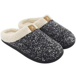 Men'S Comfort Memory Foam Slippers Wool-Like Plush Fleece Li