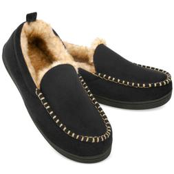 Men's Fuzzy Moccasin Slippers Warm Memory Foam Indoor Outdoo
