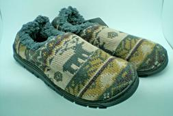 MUKLUKS MEN'S KNIT SLIPPERS HOUSE SHOES FAUX FUR LINED WALNU