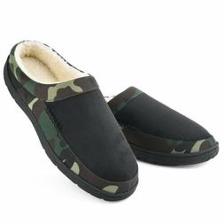 Men's Memory Foam Slippers Fleece Slip-on Camouflage Indoor