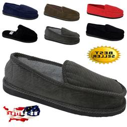 men s slippers house shoes moccasin corduroy