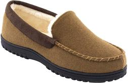 Men's Wool Micro Suede Moccasin Slippers House Shoes In