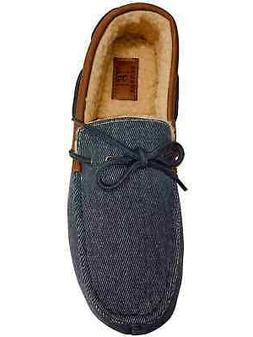 Mens Blue Denim Memory Foam Loafers Slippers Sherpa House Sh