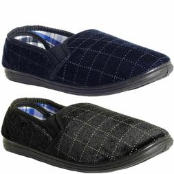 MENS CHECK VELOUR INDOOR HOUSE SLIPPERS SHOES,NAVY OR BLACK