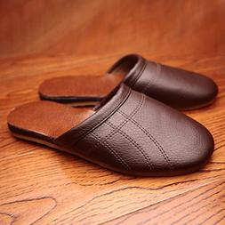 Comfortable Mens Slippers Faux Leather  House Shoes Indoor F