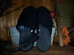 GEORGE MENS HOUSE SLIPPERS SHOES SIZE 11-12 BLACK WITH FUR L
