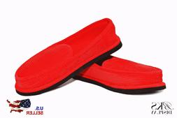 Mens Red House Shoes Slippers Moccasin Slip-on Corduroy Comf