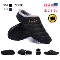 Mens Slip-on Slippers Indoor Outdoor House Shoes Waterproof