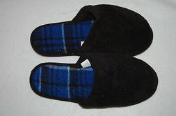 Mens Slippers BLACK OPEN BACK HOUSE SHOES Fabric Upper RUBBE