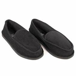 Mens House Slippers Black Corduroy Slip On Moccasin Shoes fo