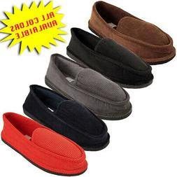 Mens Slippers House Shoes Corduroy Color Slip On Moccasin Co