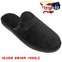 Mens Slippers Open Back House Shoe Black Corduroy Slip On Co