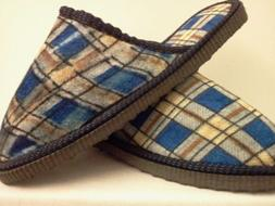 PLAID LIGHT BLUE HOUSE SHOES SLIPPERS FREE SHIPPING MEN OR W