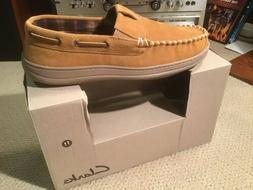 Clarks Slippers Moccasin Tan Suede Andy JMH0740 Men's Size 1