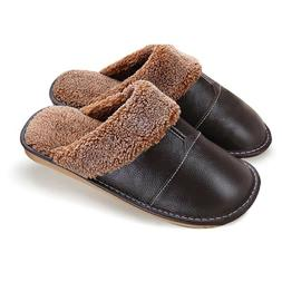 Winter Slippers Genuine Leather Plus Size Home Nonslip Thick