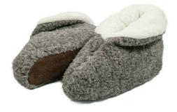 WOMEN MEN'S 100% CHARCOAL SHEEP WOOL BOOTS HOUSE SLIPPERS  S